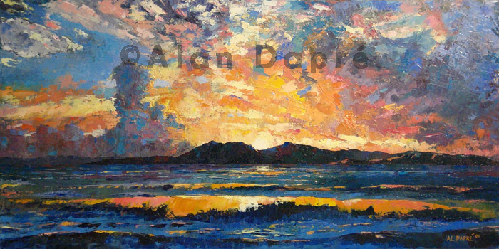 alan dapre view of arran oil painting